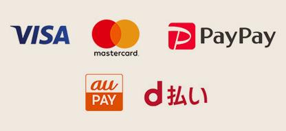 VISA、MasterCard、PayPay、auペイ、d払い